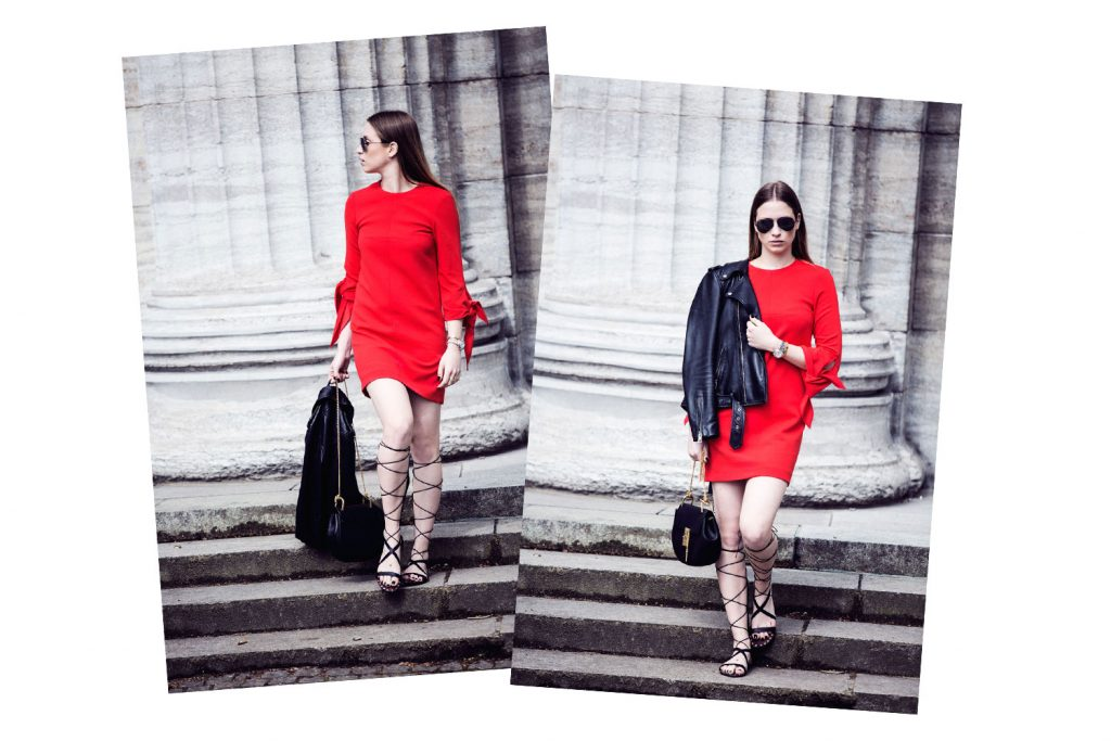Streetstyle-Tibi-Red-Dress-Gladiator-Sandals-Duo